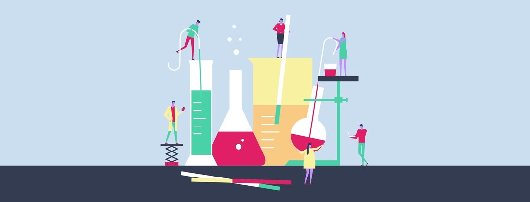 Tiny people working with large chemist equipment
