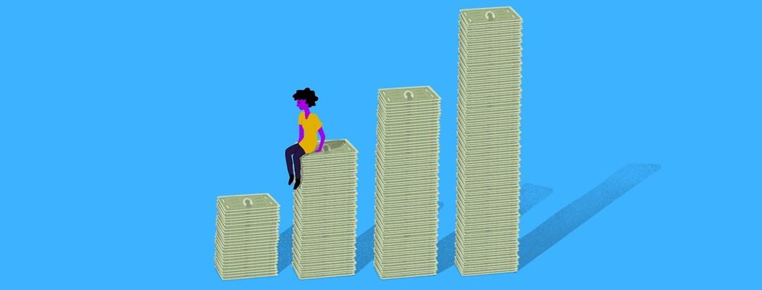 woman sitting sadly on incrementally rising stacks of money