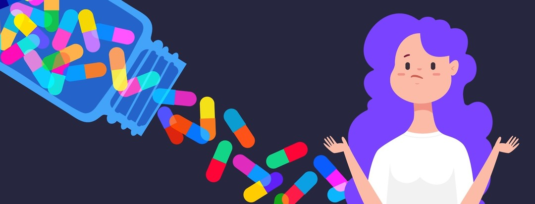a woman shrugging while many medications float around behind her