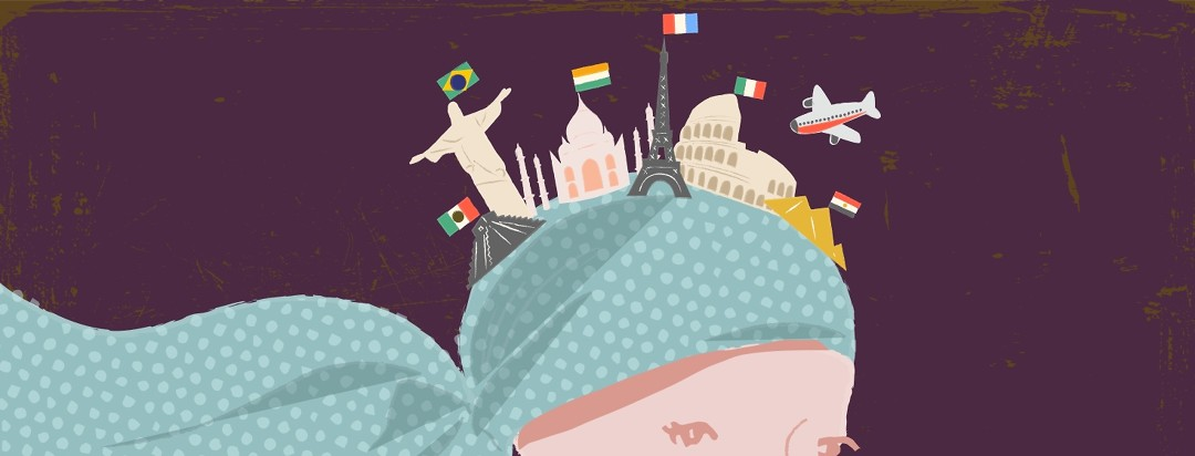 Woman with world landmarks waving their countries' flags atop her scarved head