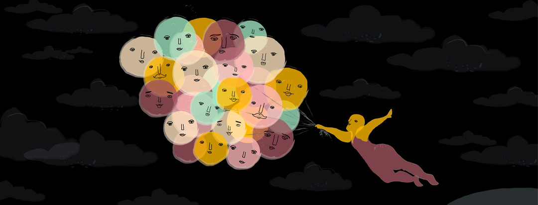 A woman is being lifted up by a bunch of balloons with smiling faces on them across a night sky.