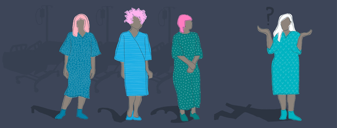Image shows four women in hospital gowns. Each has a different shadow numbered 1 through 4. The woman with the 4 shadow is shrugging and has a quizzical question mark above her, showing her uncertainty about whether she's a good candidate for surgery or not.