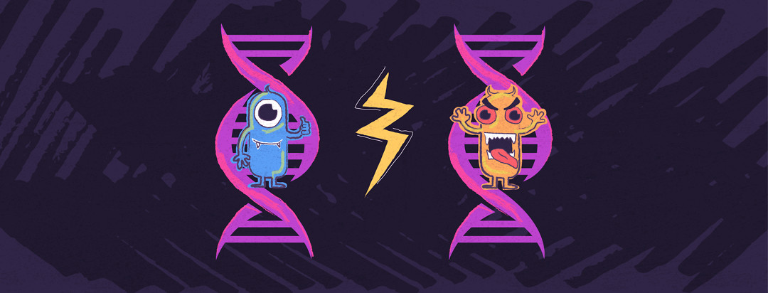 Two DNA helixes, one with a happy monster, the other with an angry monster.