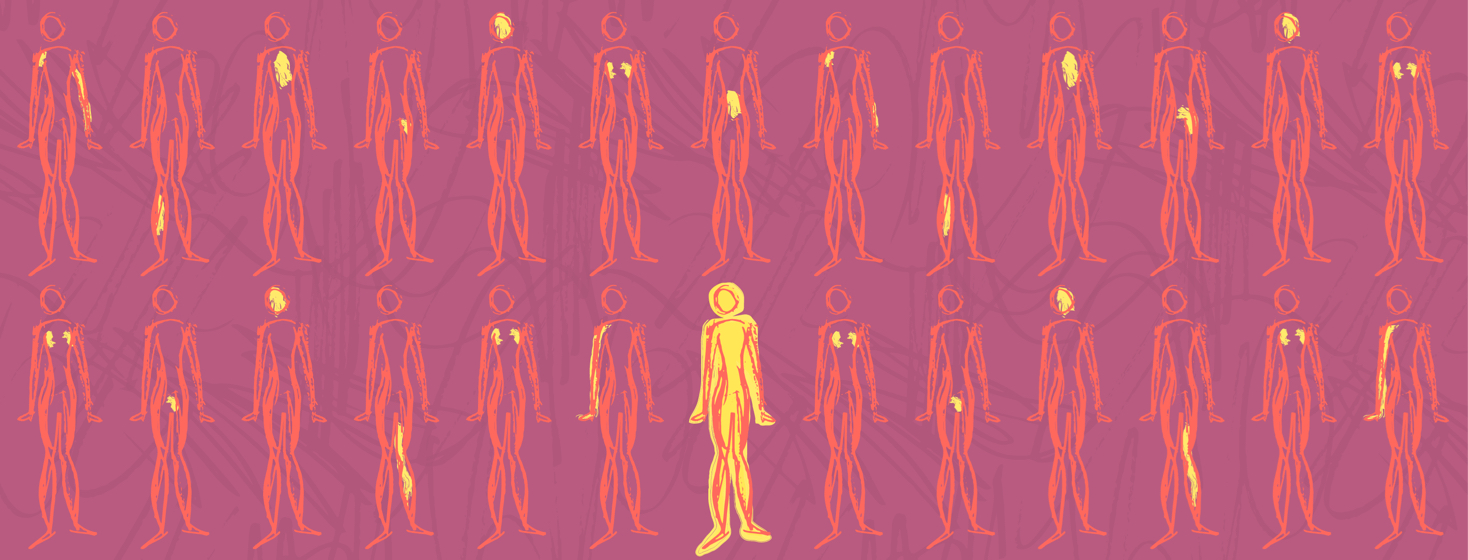 Pattern of the same body type with different parts illuminated on each one. One stands in the center that is completely illuminated - representing full body or functional medicine.
