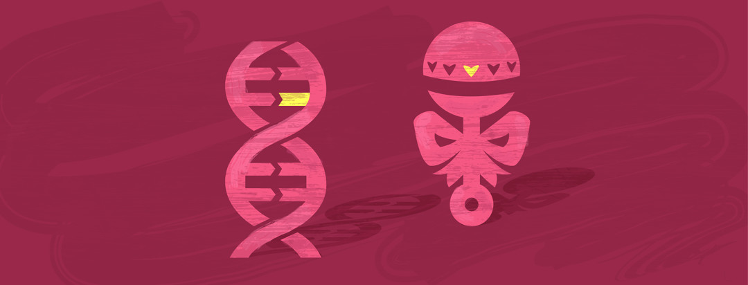 A DNA helix and a rattle stand side by side with long shadows.