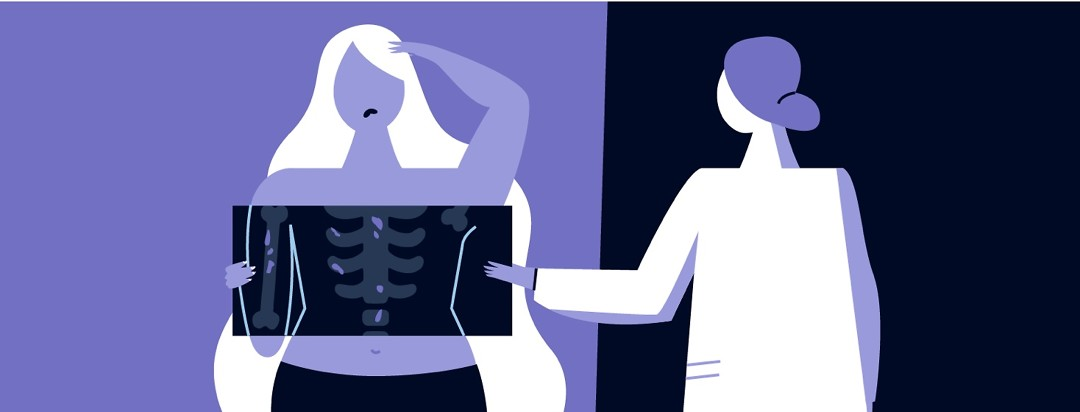 A woman at the doctor finding out she has cancer on her bones