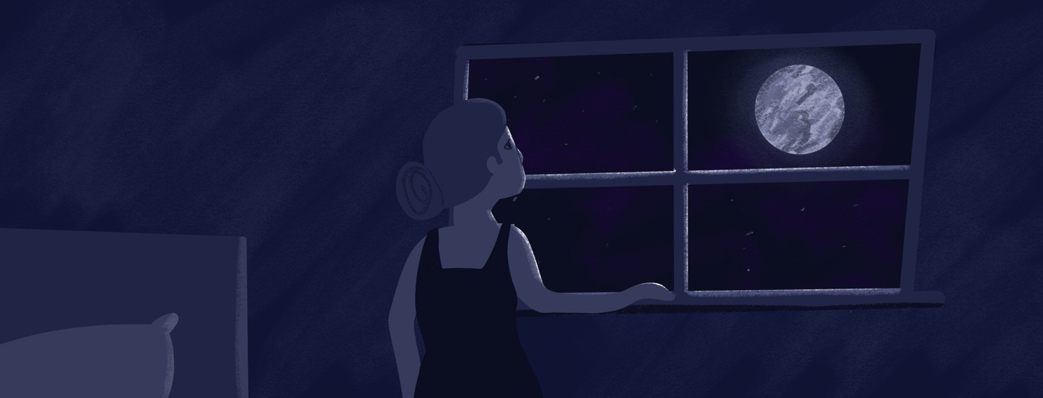 A woman looking out of her window at night up at the moon
