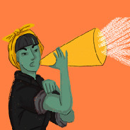 A woman flexes her muscle as she shouts into a megaphone