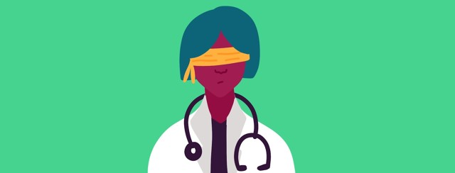 A doctor wears a blindfold to represent their inability to correctly diagnose