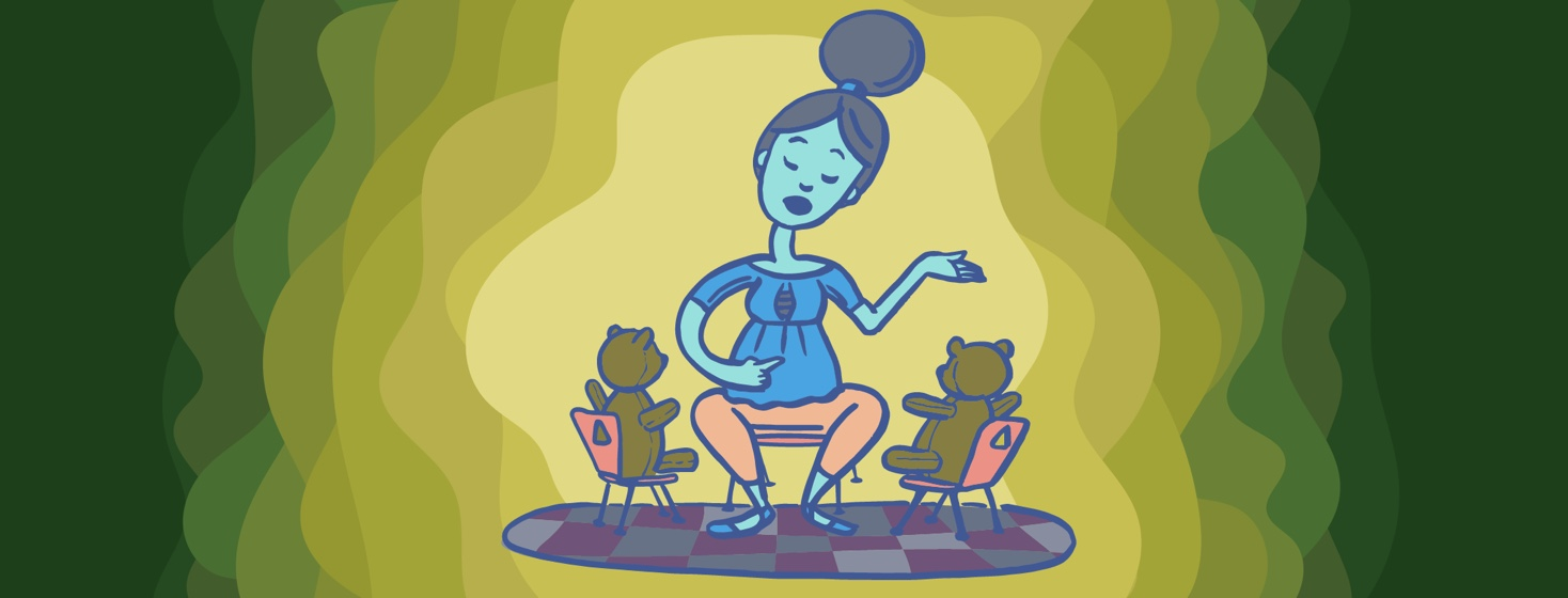 a woman talking to two teddy bears in tiny chairs and pointing to herself