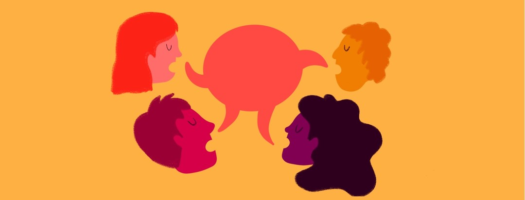 A group of people all talk about the same topic in a speech bubble