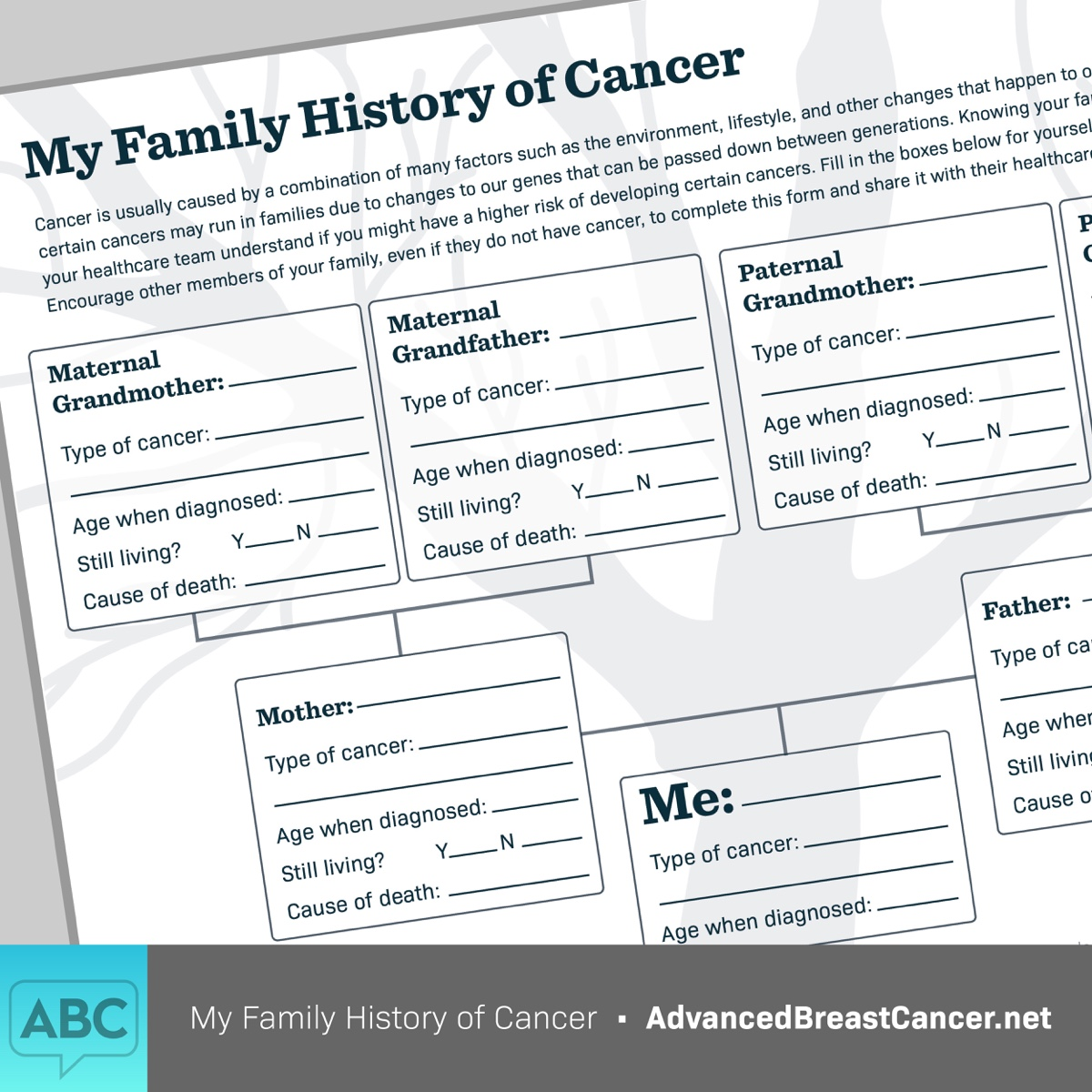 Family History of Cancer Sheet