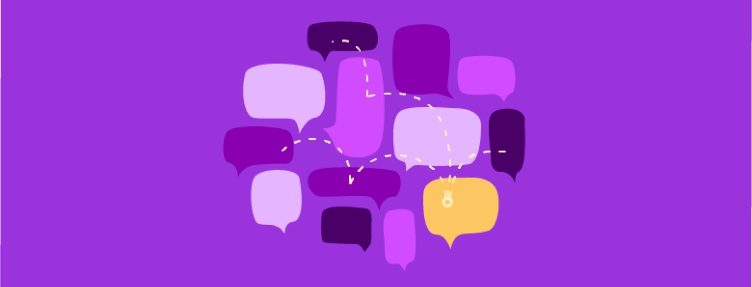 A group of speech bubbles gathers together and shares their respective stories