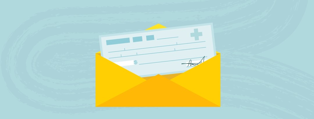 A cheque with a health symbol comes out of an envelope