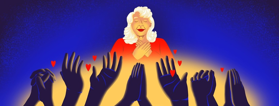 A woman looks touched and loved, with her eyes closed and her hands over her heart. Below her is a soft glowing light and hands lifted up in prayer and offering love and support to the woman.