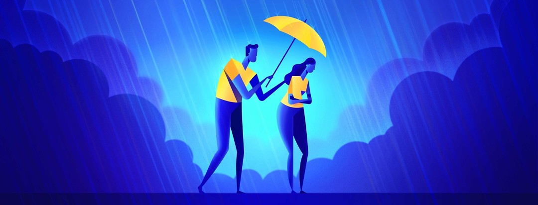 A man attempts to hold an umbrella over a woman who is sad and withdrawn in the rain