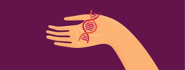 A hand holds a double helix in the palm