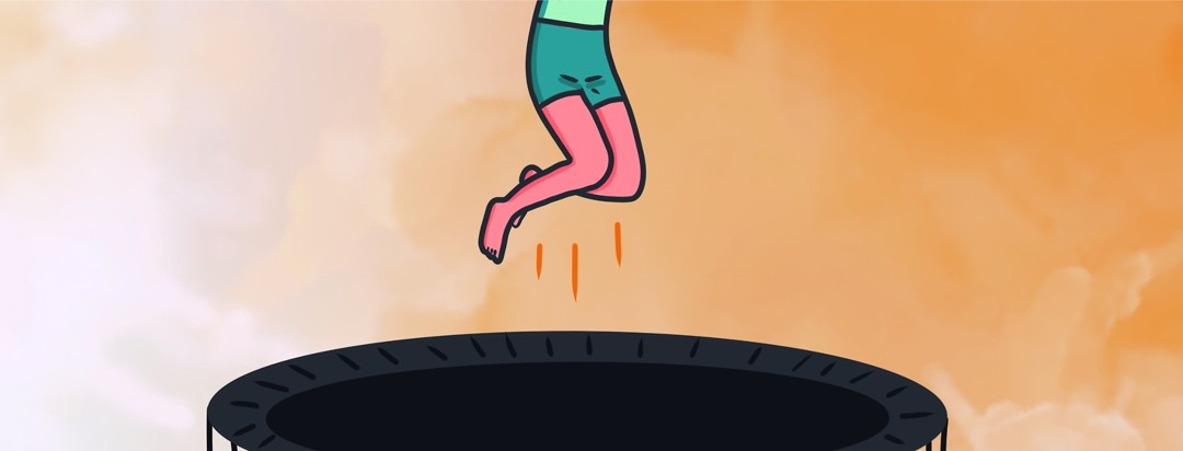 A person jumps on a trampoline