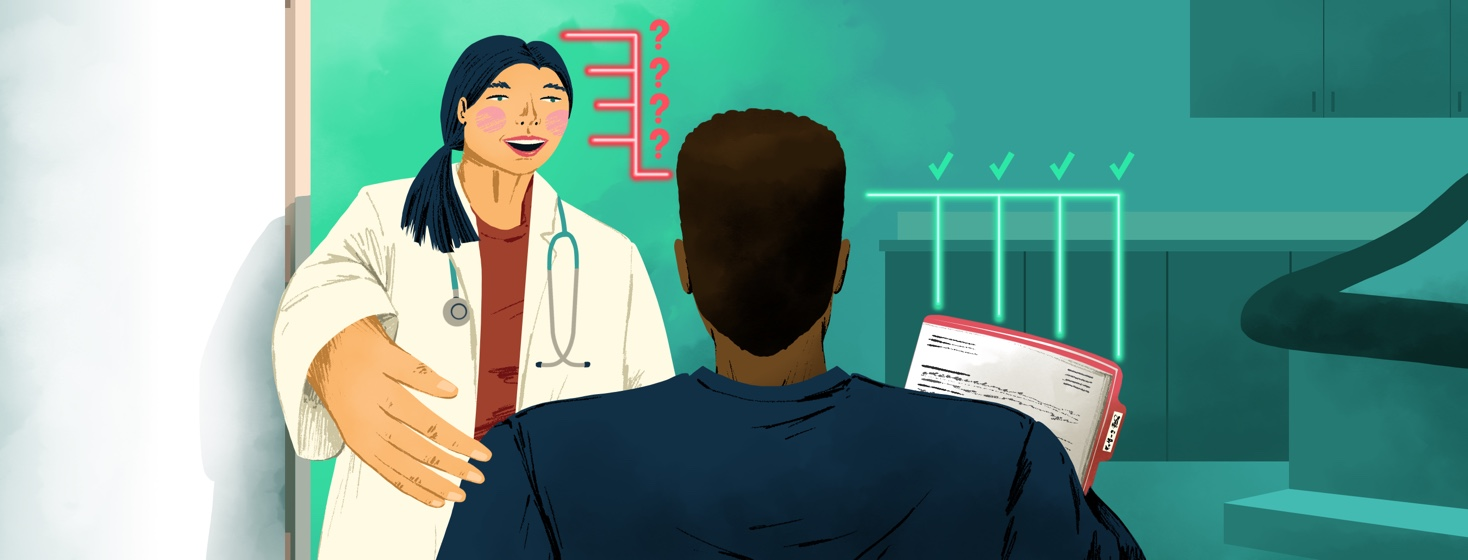 A doctor welcomes in a patient (with his arms full of paperwork) into a doctor