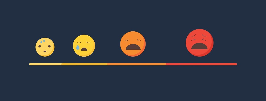A pain scale with increasingly sad/pained faces