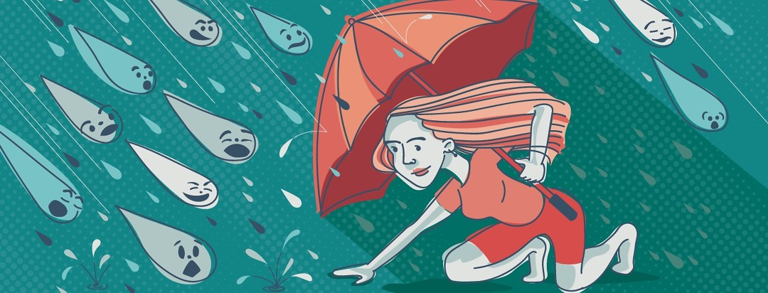 A woman uses an umbrella to dodge raindrops of unhelpful comments
