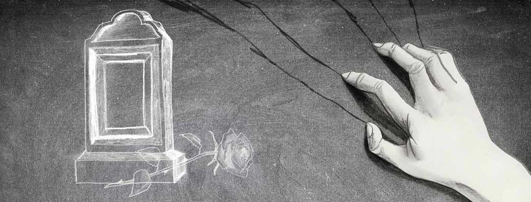Nails scratch on a chalkboard next to a chalk drawing of a gravestone and rose