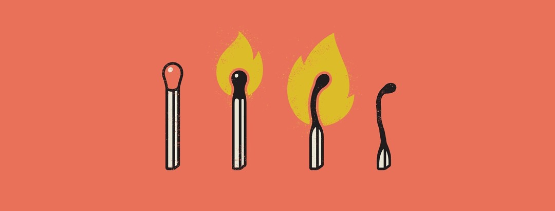 Matches at different stages of being burned