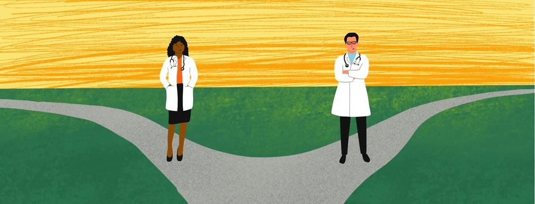 A fork in the road shows two doctors
