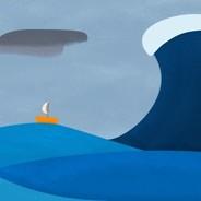 Giant wave moving toward a tiny sailboat.
