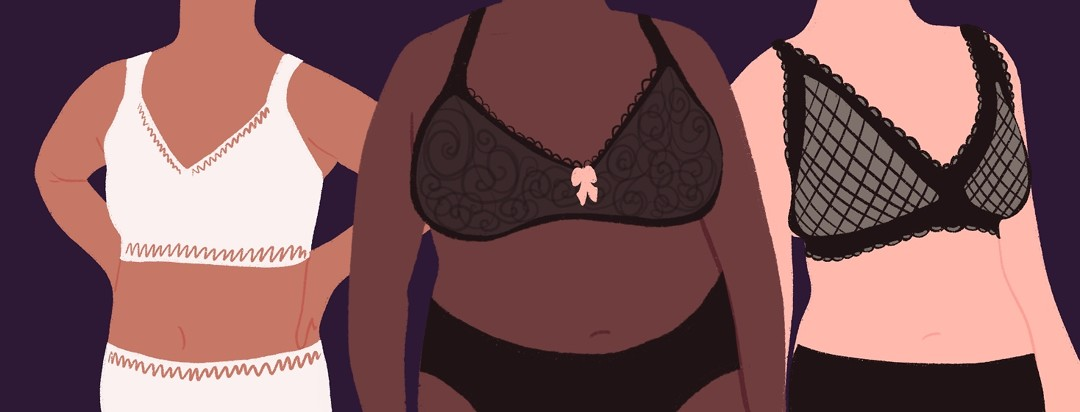 Three diverse women stand together wearing beautiful mastectomy bras