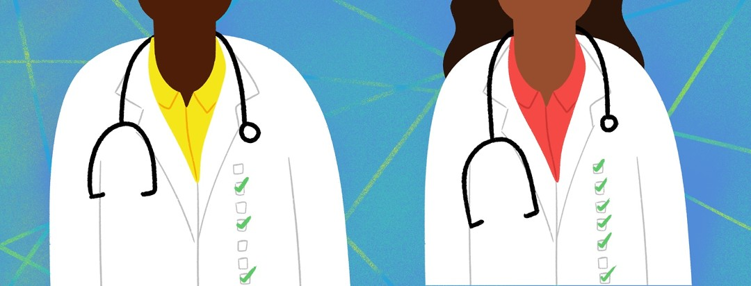 Two doctors next to each other, each with different checkboxes filled out
