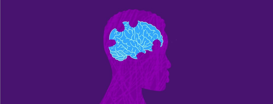 Silhouette of a person and their brain, where then brain has bite marks taken out of it