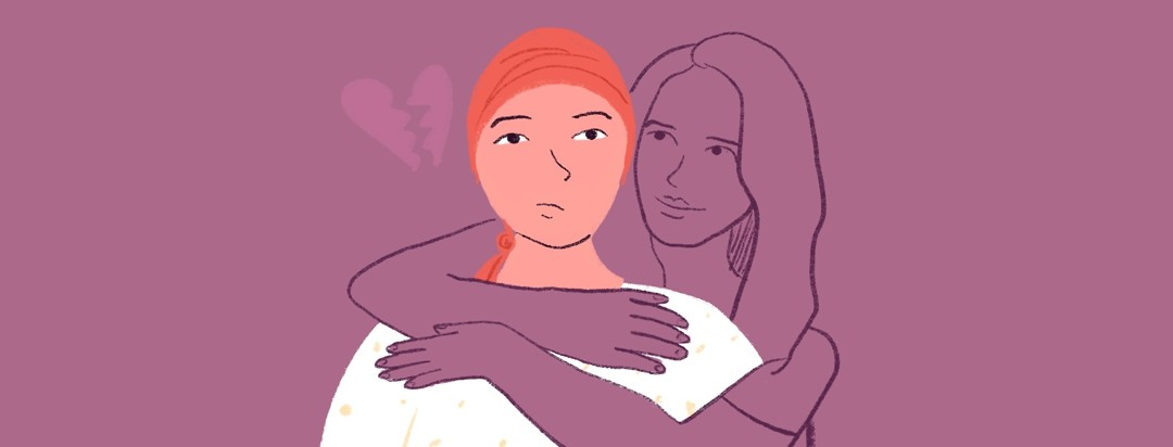 A person with a headscarf is hugged by the ghost of a woman