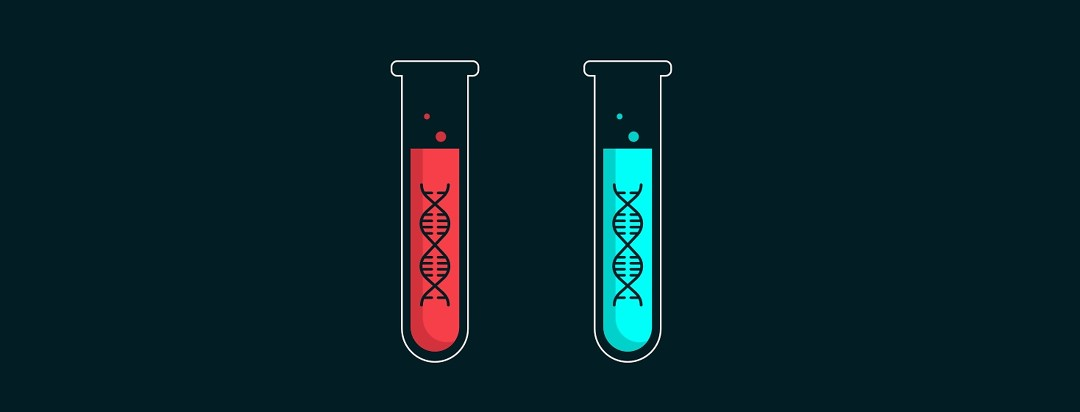 Two test tubes with DNA inside of them