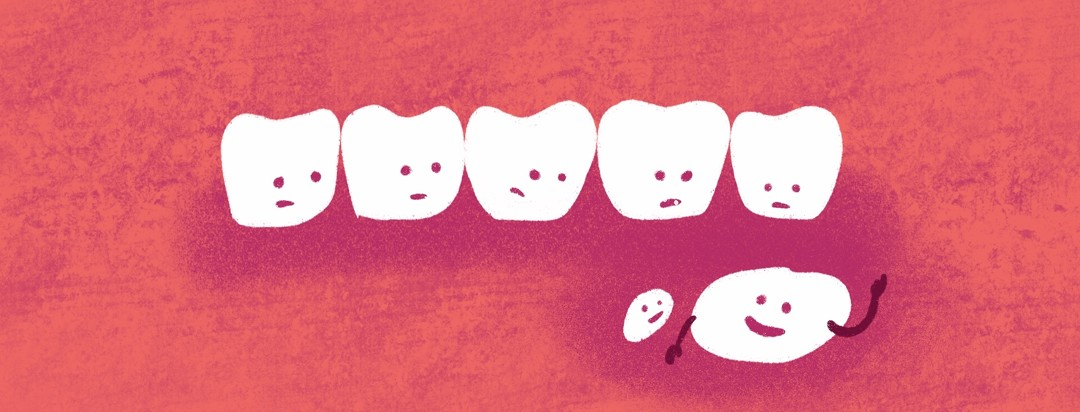 A group of teeth look worriedly down at exposed bone in the gum, which waves happily up at them
