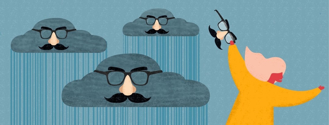 A woman putting funny nose mustache glasses on rain clouds