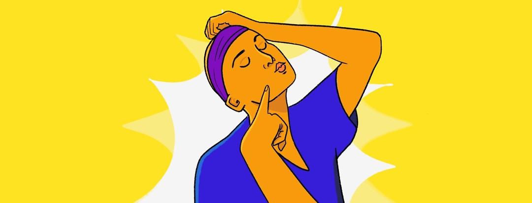 a woman strikes a fun pose while wearing a wig band