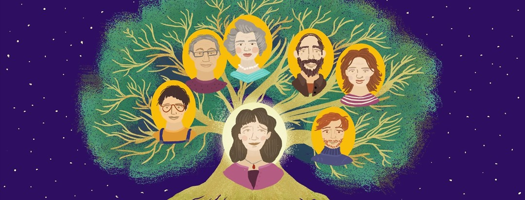 A woman at the center of a family tree showing her elders and other family members looks up smiling slightly but also looking a little sad