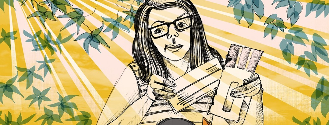 Woman grimacing while opening a medical bill in the sunlight surrounded by houseplants