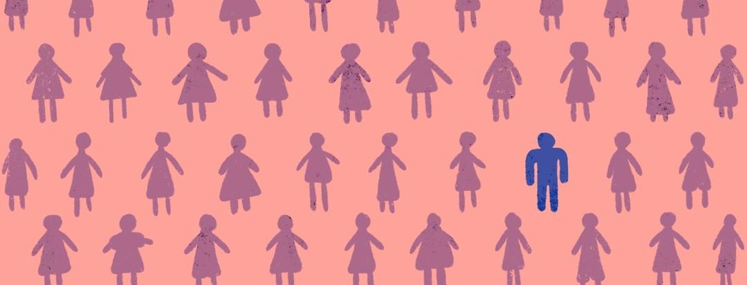 A single male symbol sits among many females