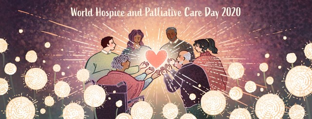 A diverse group of people hold a glowing heart together in honor of World Hospice and Palliative Care Day.