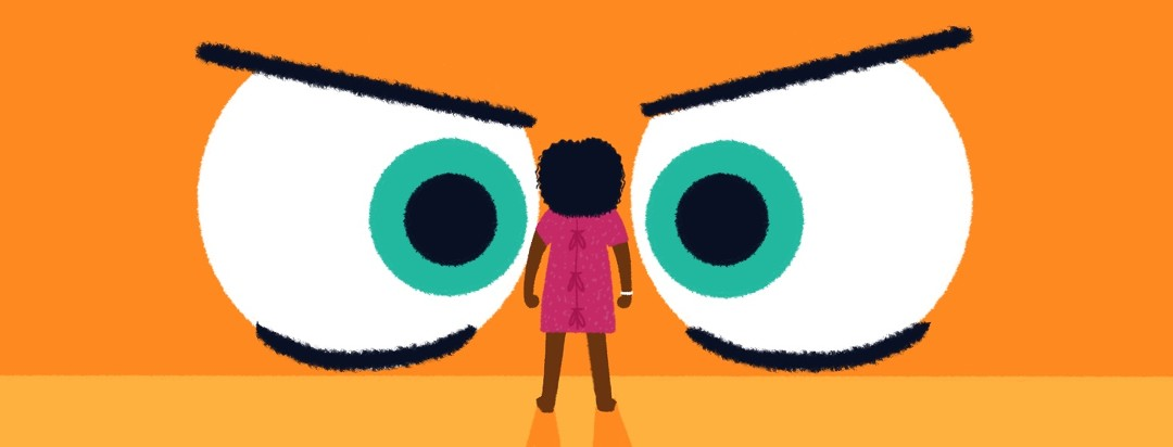 A black woman in a hospital gown stares down a pair of huge, angry, judgmental eyes