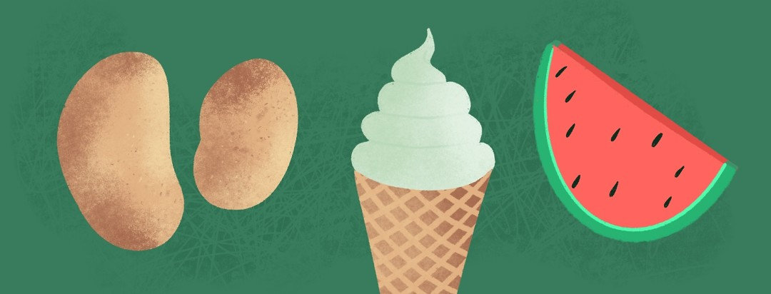 Potatoes, an ice cream cone, and a watermelon slice