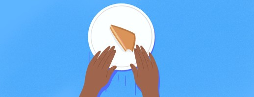 A plate sits on a table with a sandwich with one bite taken out of it, while a pair of hands pushes the plate away