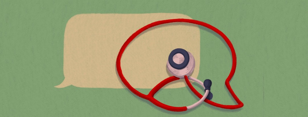 Two overlapping speech bubbles, one of them being made out of a stethoscope