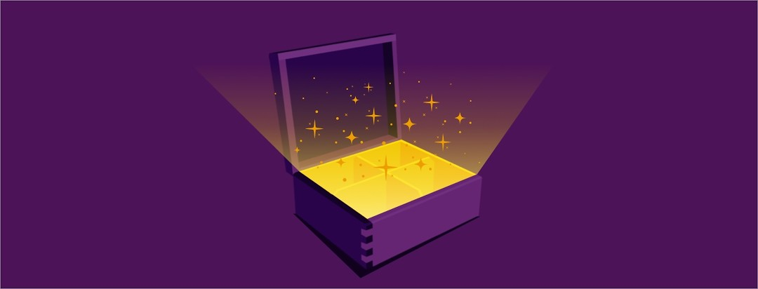A gift box opening with glowing sparkles coming out