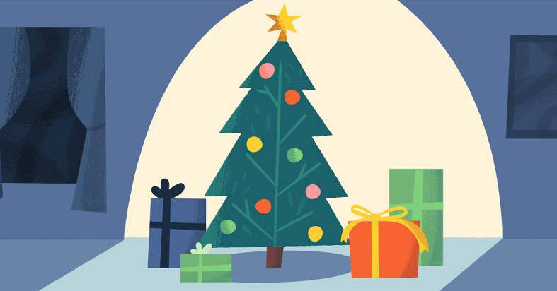 A Christmas tree in a spotlight