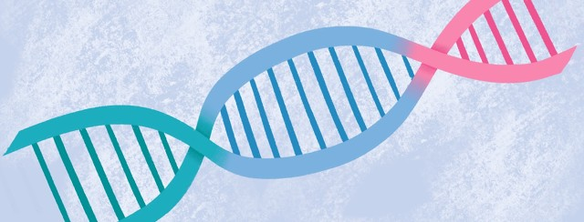 A teal, light blue, and pink ribbon overlap with each other and link together to form DNA strands