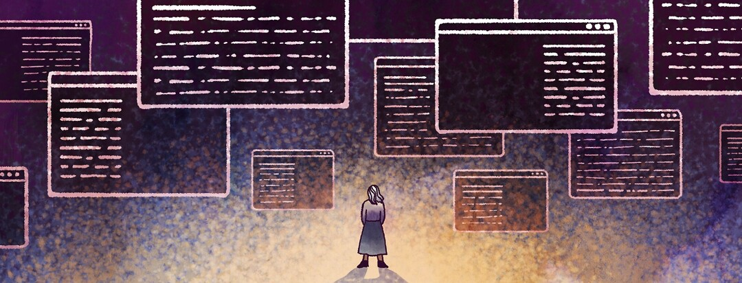A woman looks up at a mass of online information in different web browsers