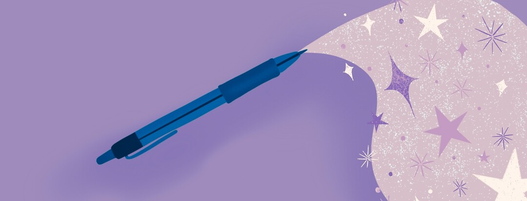 Pen with stream of stars coming from the tip